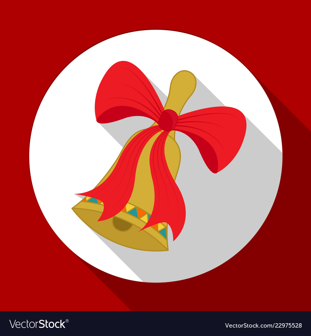 Christmas red bow icon on red background with long