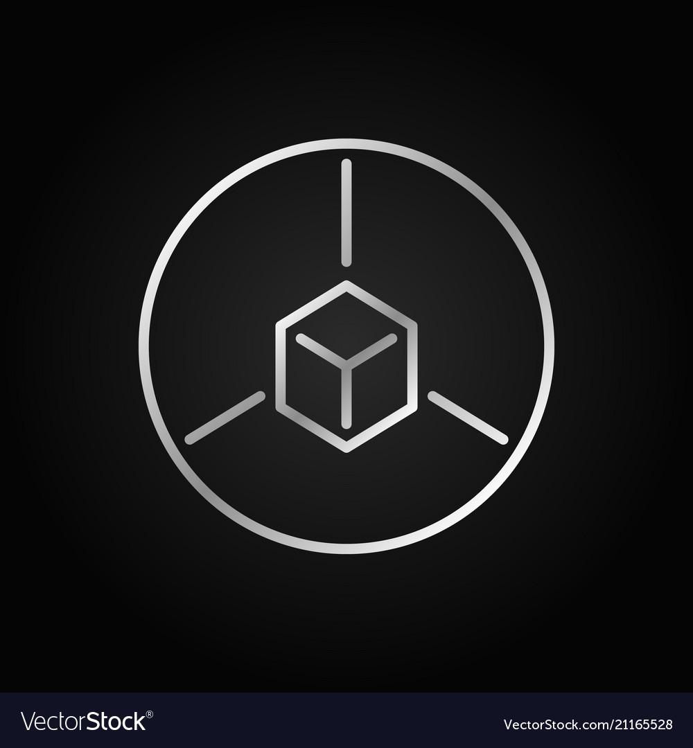 Cube in circle outline silver icon ar line
