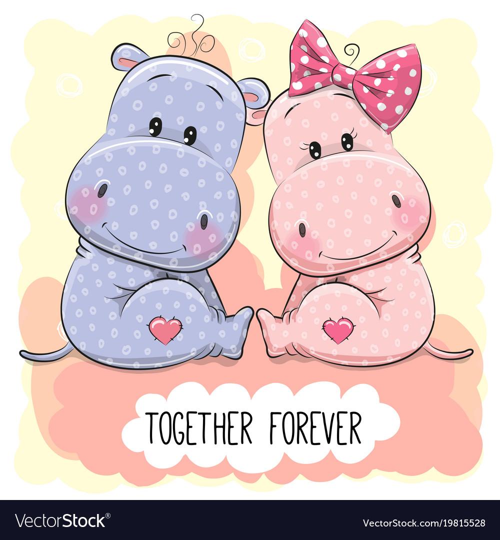 Cute cartoon hippos boy and girl