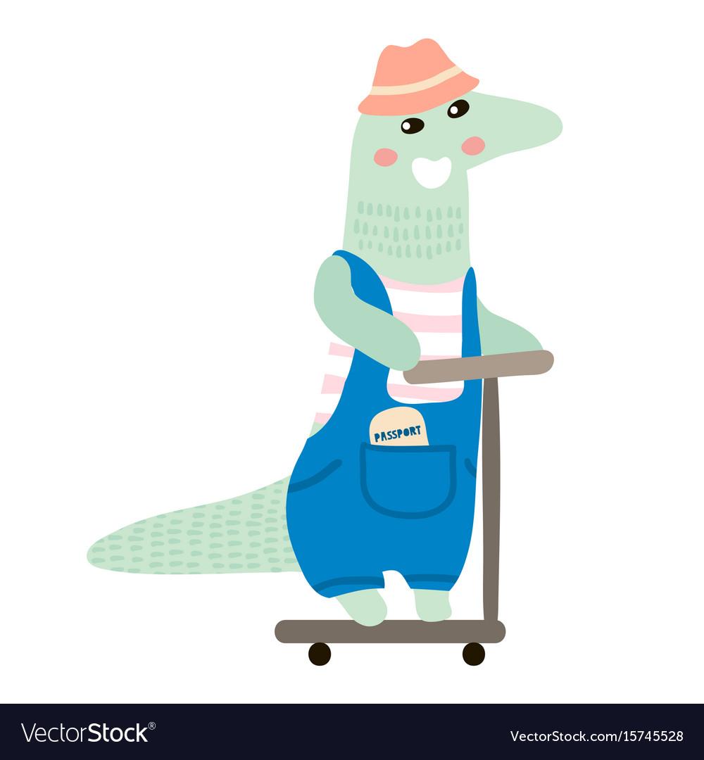 Cute crocodile boy hand drawn