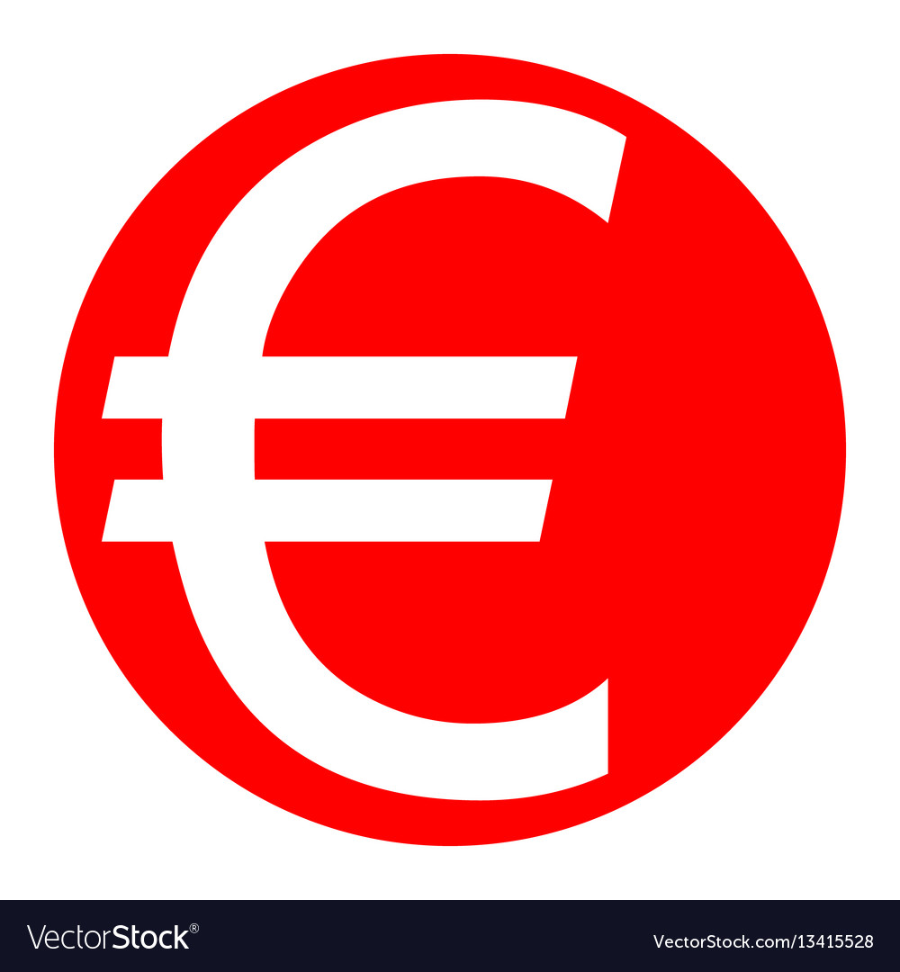 Euro sign white icon in red circle on