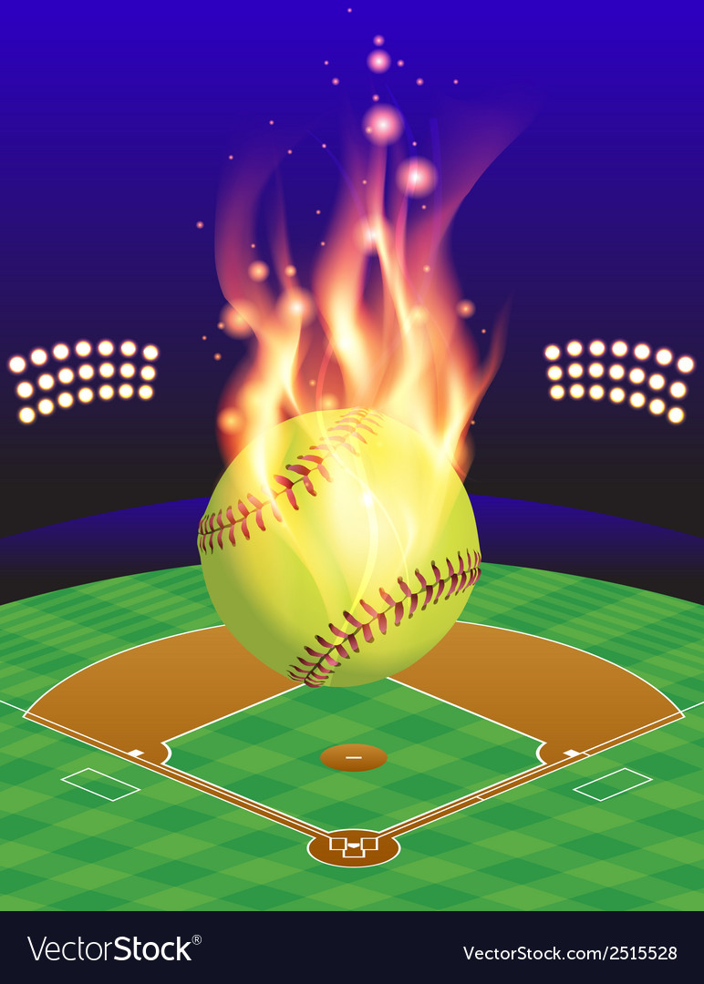 Fire softball field vector image