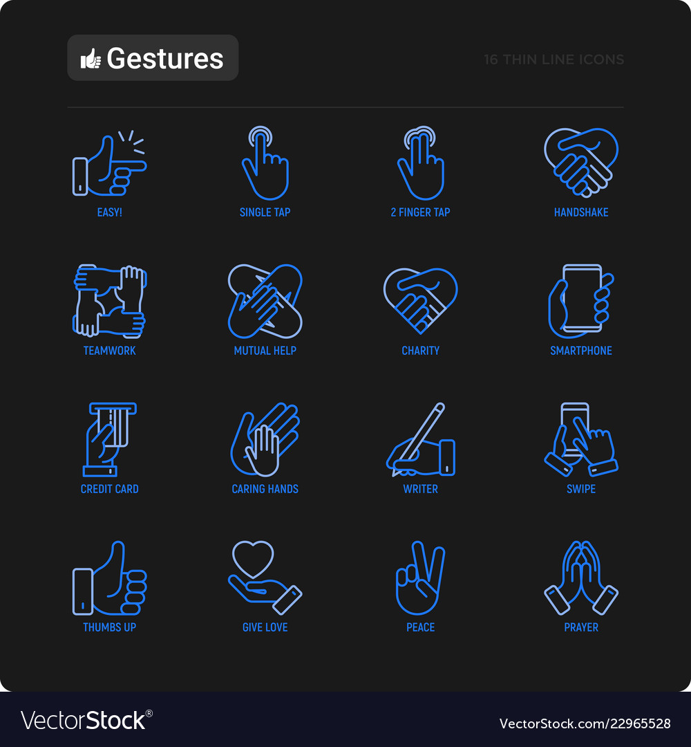 Hands gestures thin line icons set