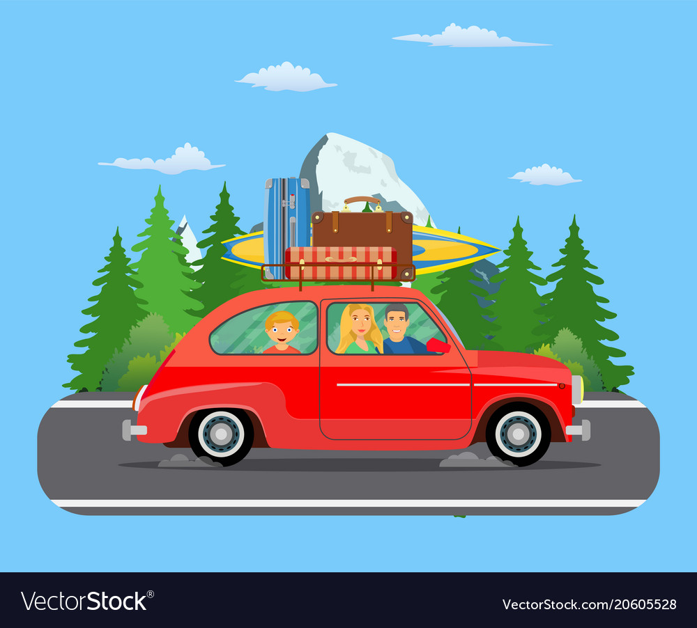 Happy family traveling by car Royalty Free Vector Image
