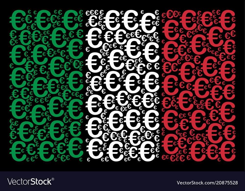 Italy Flag Pattern Of Euro Symbol Icons Royalty Free Vector