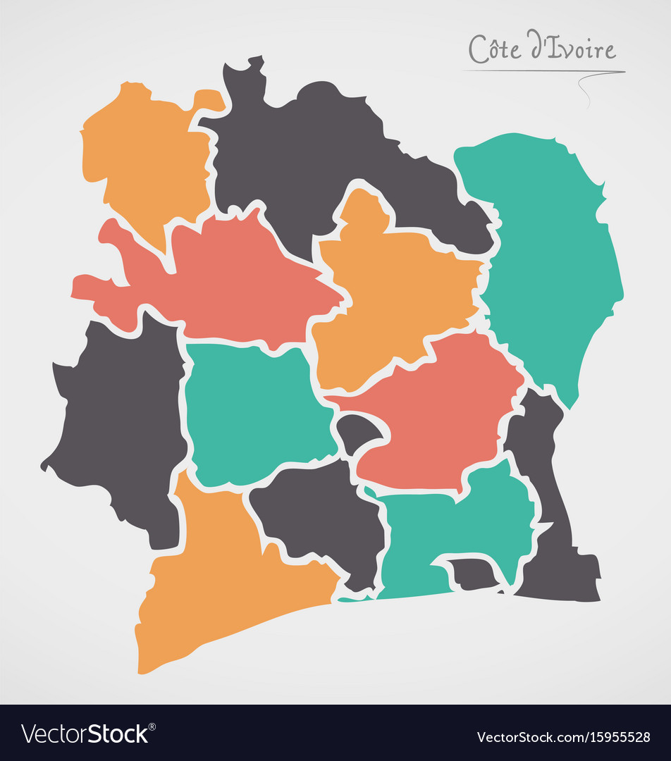 Picture of: Ivory Coast Map With States Royalty Free Vector Image