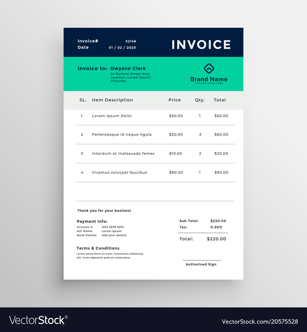 Modern Minimal Invoice Template Design Royalty Free Vector
