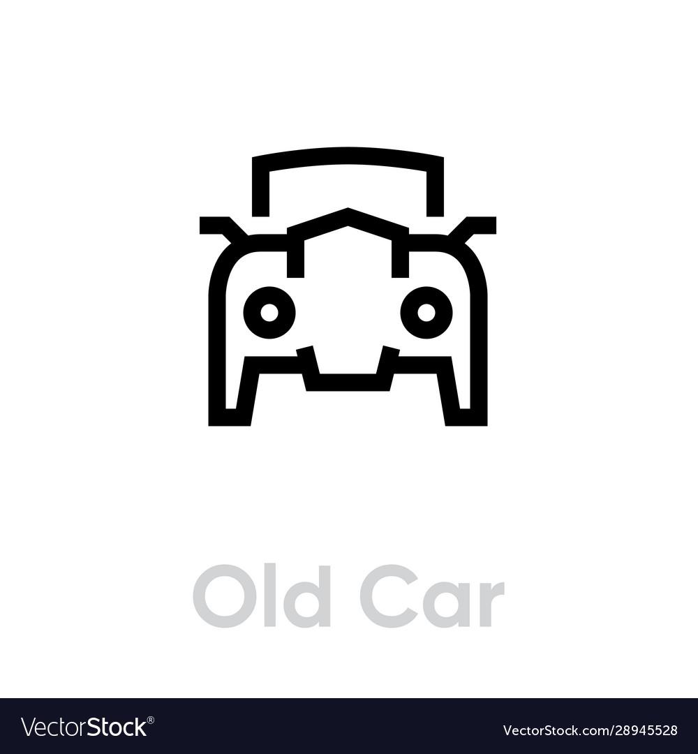 Old retro car icon editable line vintage