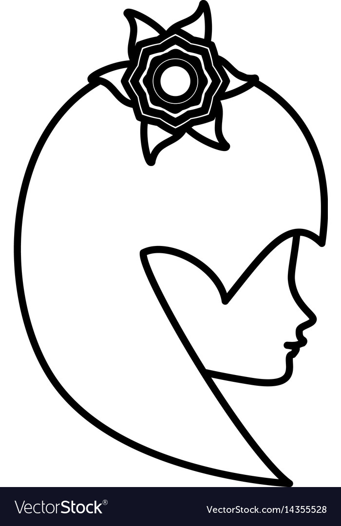 Outline head woman flower romance