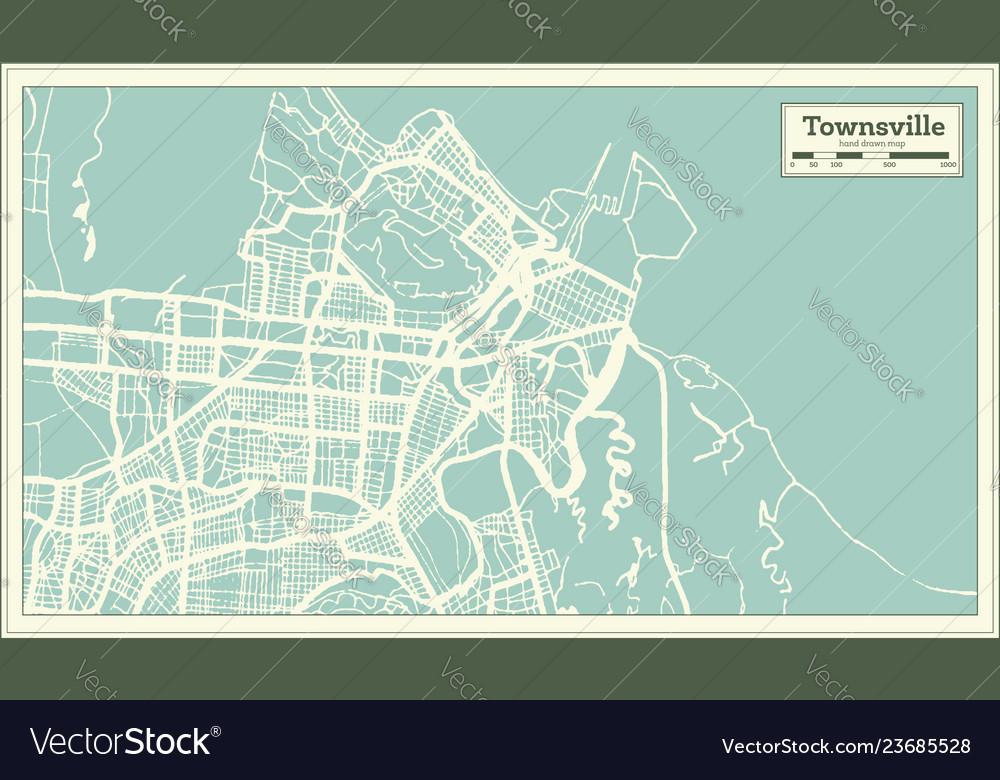 Map Of Australia Townsville.Townsville Australia City Map In Retro Style