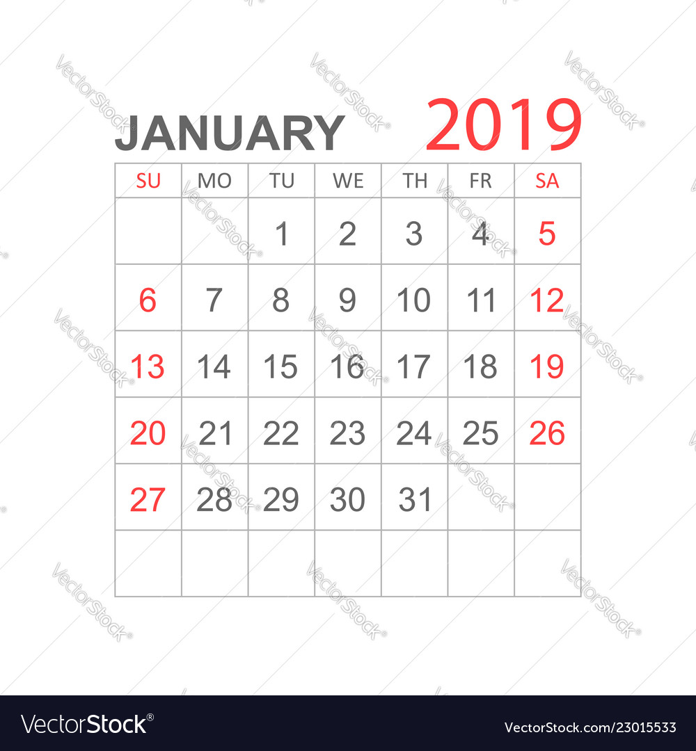 Calendar january 2019 year in simple style