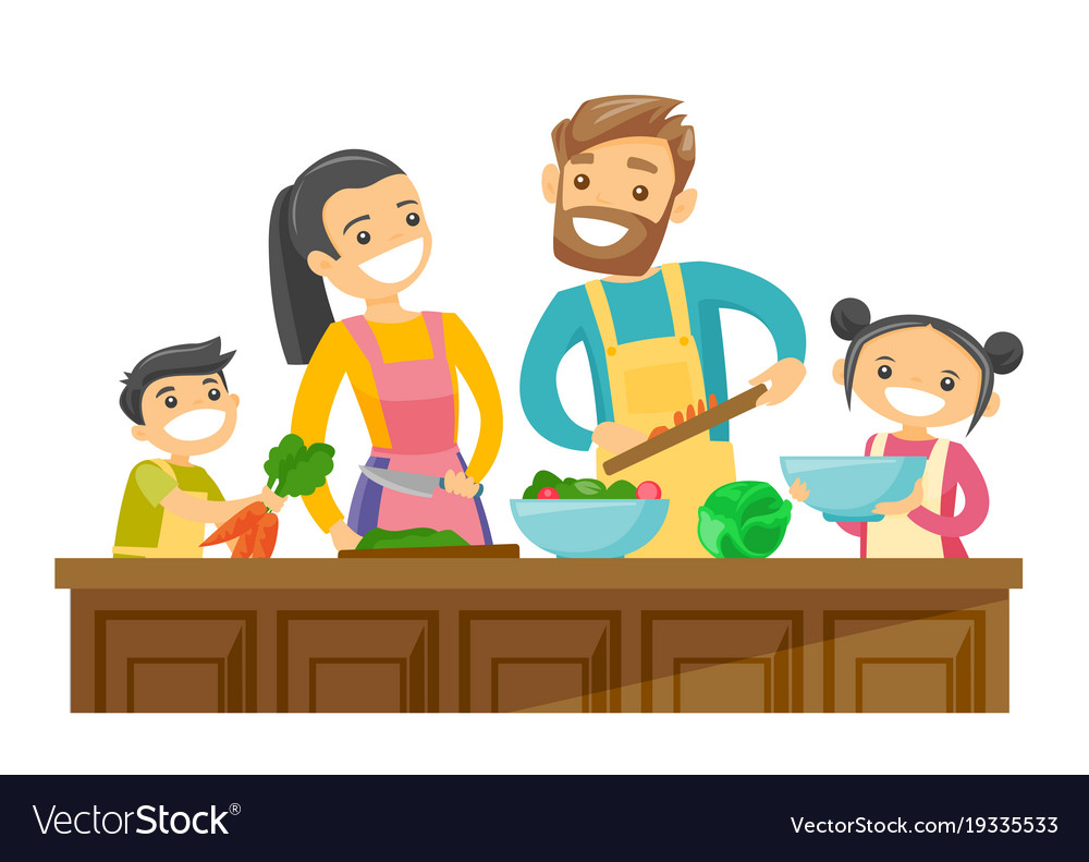 Caucasian white parents with kids cooking together