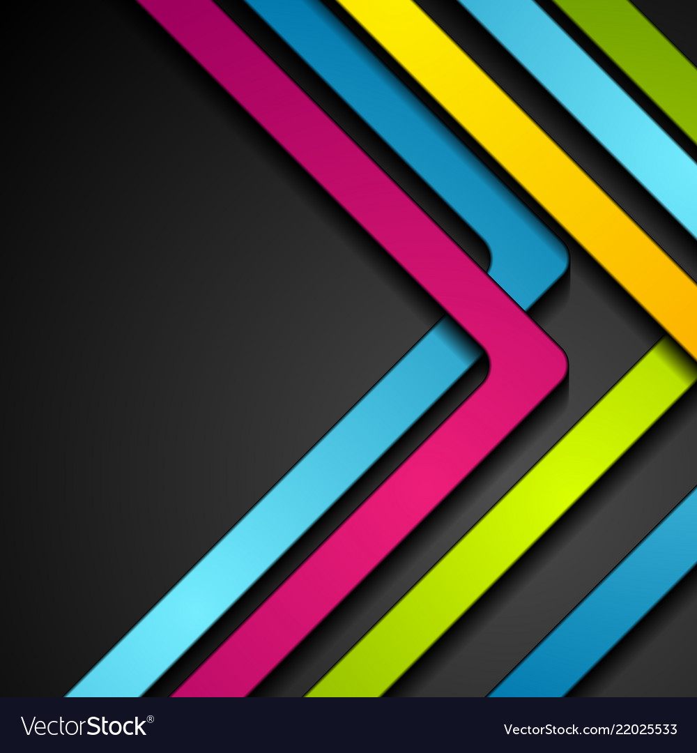 Colorful abstract stripes arrows on black