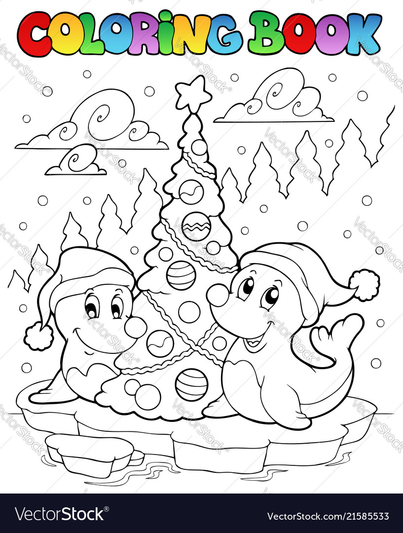 Coloring book two seals with tree Royalty Free Vector Image