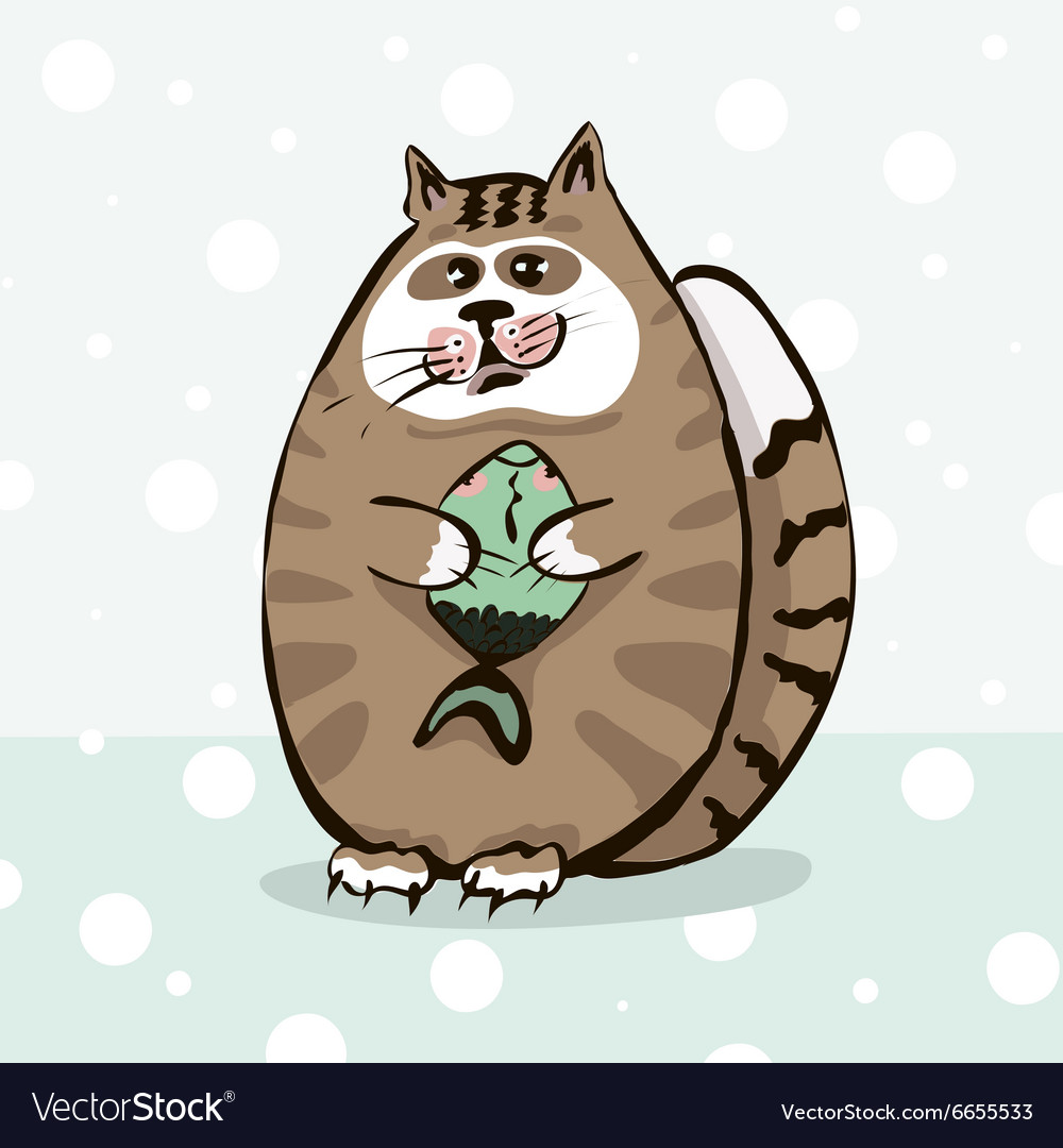 Cute cat holding a fish in paws