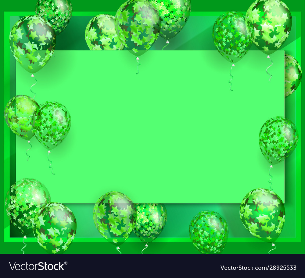 Green background balloon with stars for greeting
