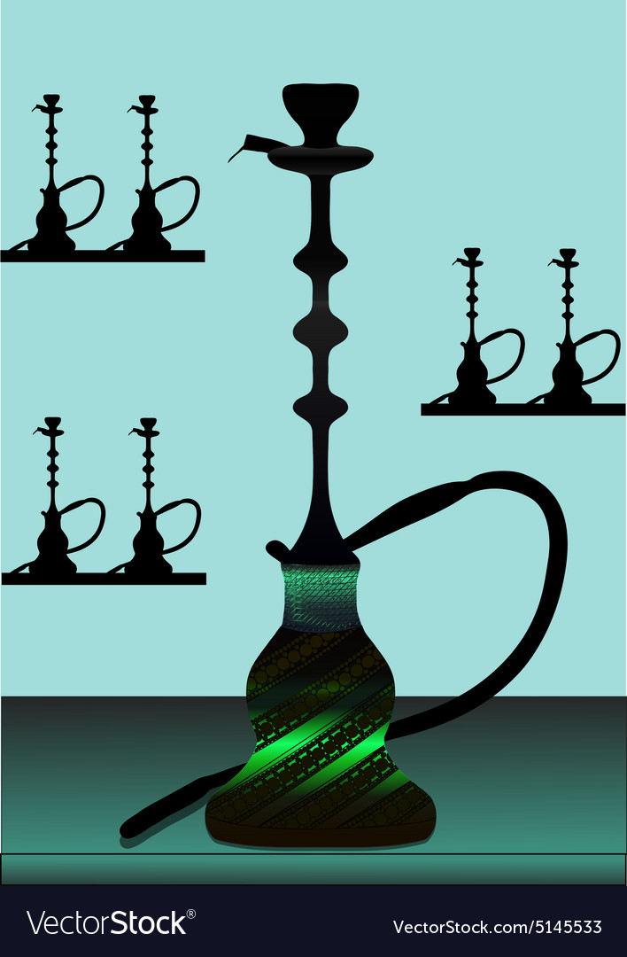 Green hookah with background vector image