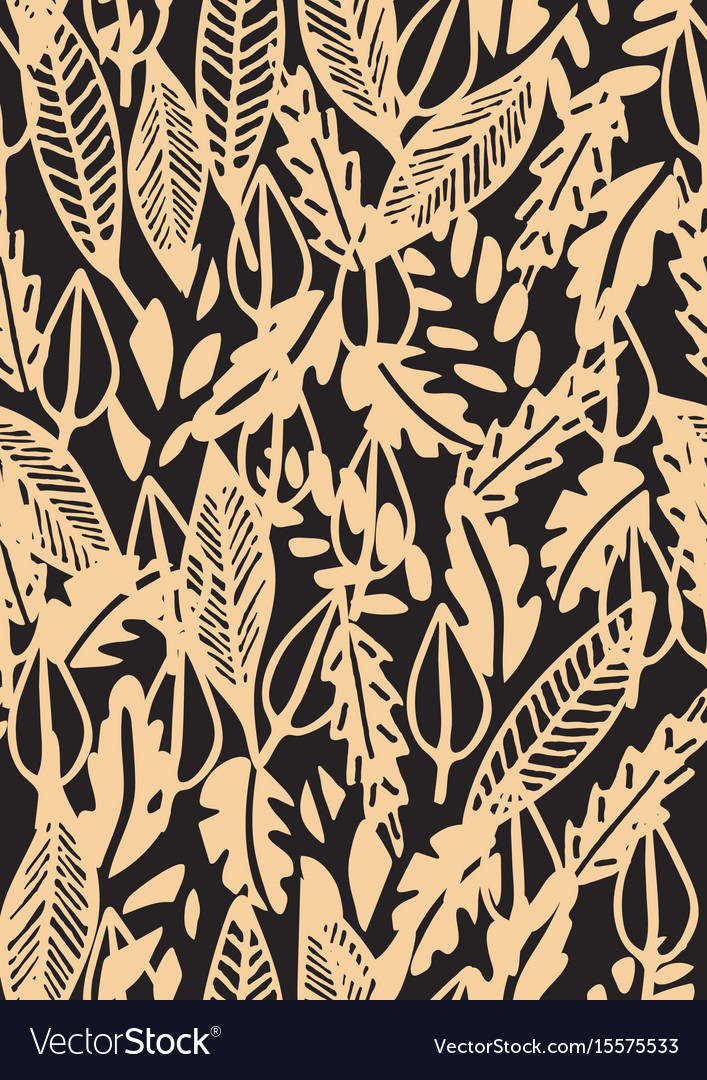 Hand drawn floral seamless pattern with leaves
