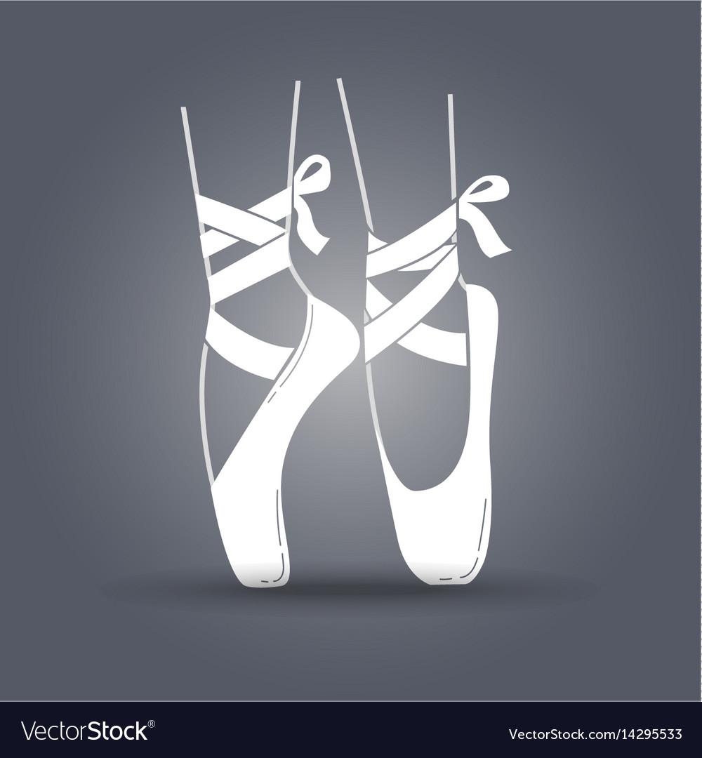 Icon ballerinas feet on pointes black and white
