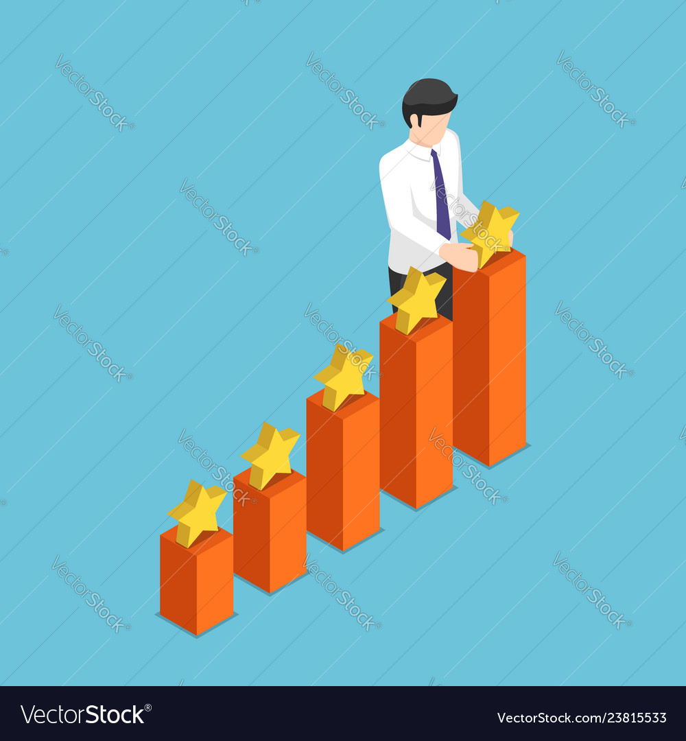 Isometric businessman putting star on the top of