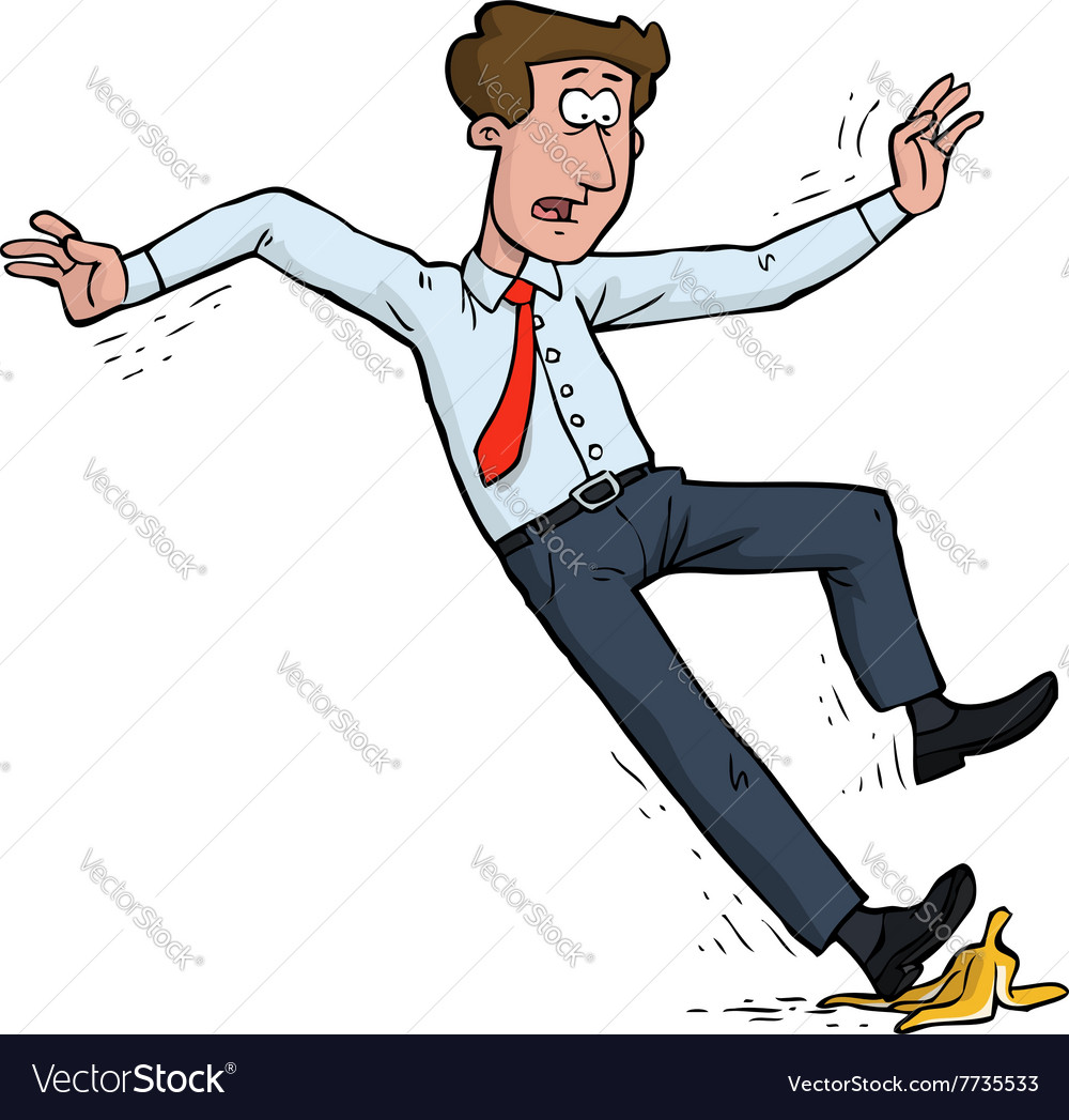 Man slipped on a banana peel vector image