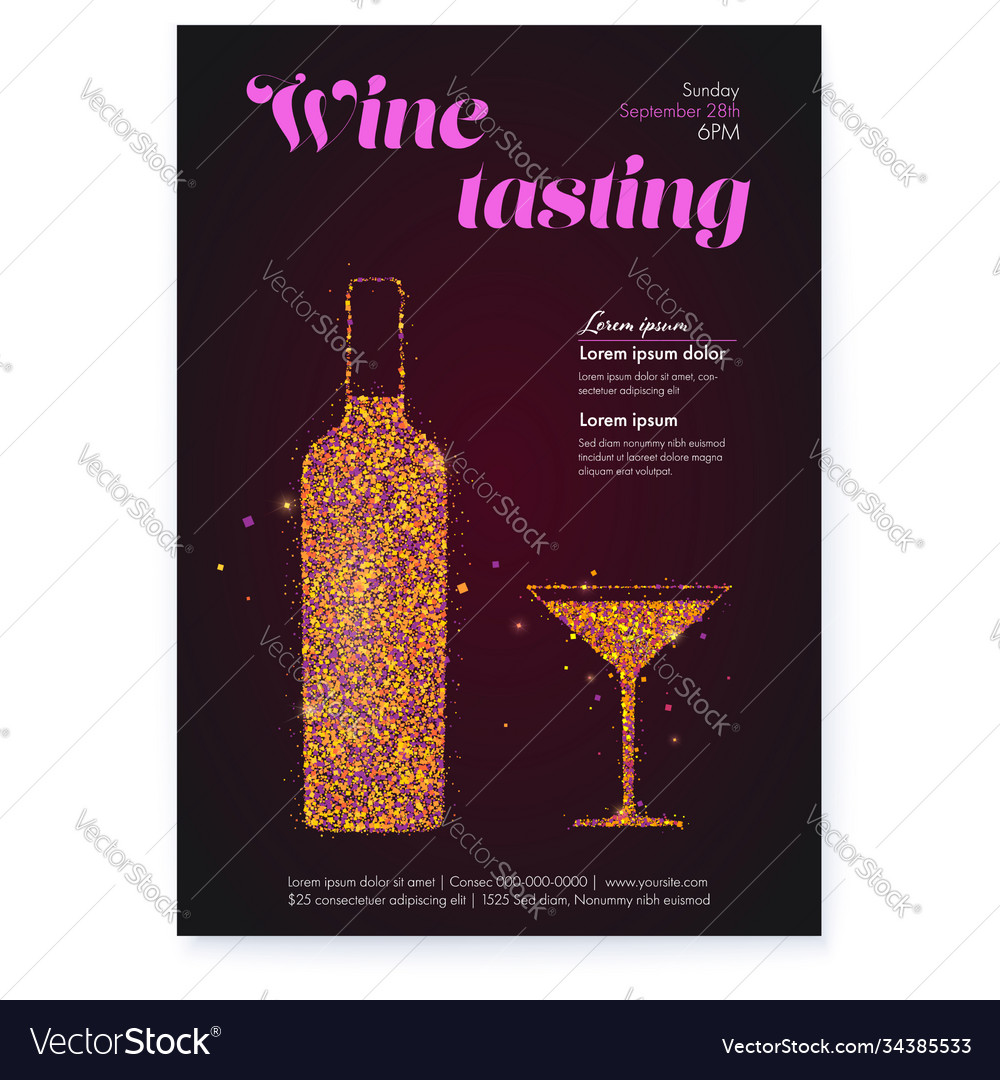 Poster for wine tasting events color glittering