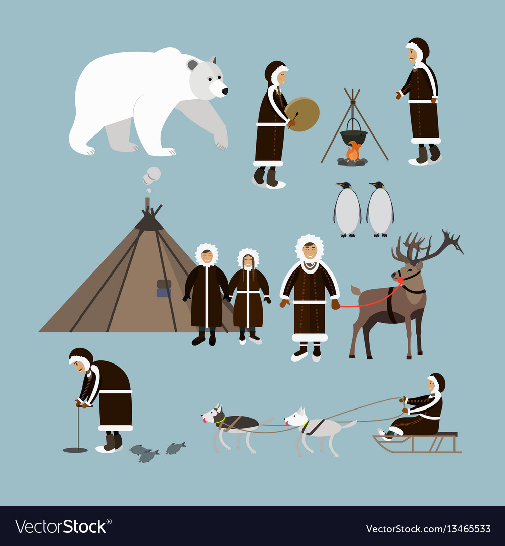Set of arctic people and animals flat style vector image