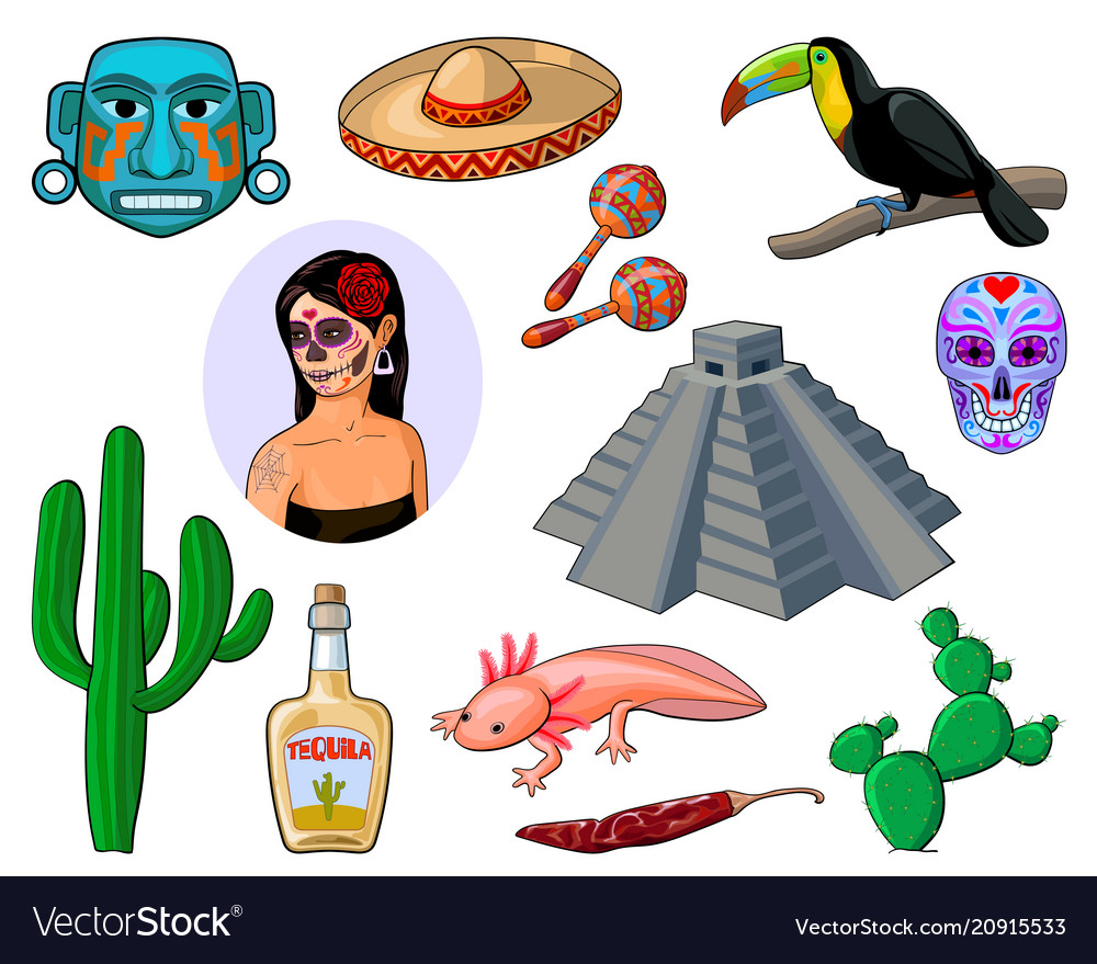 Set of cartoon icons depicting mexico vector image