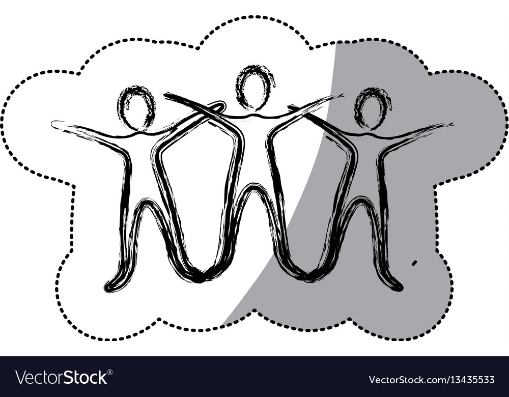 Silhouette people raise their hands vector image
