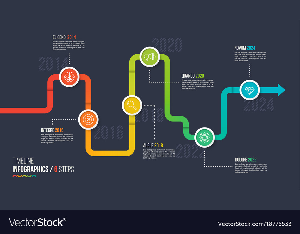 six steps timeline or milestone infographic chart vector image