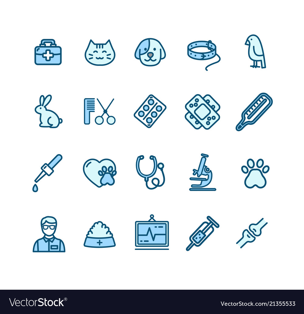 Veterinary clinic signs color thin line icon set