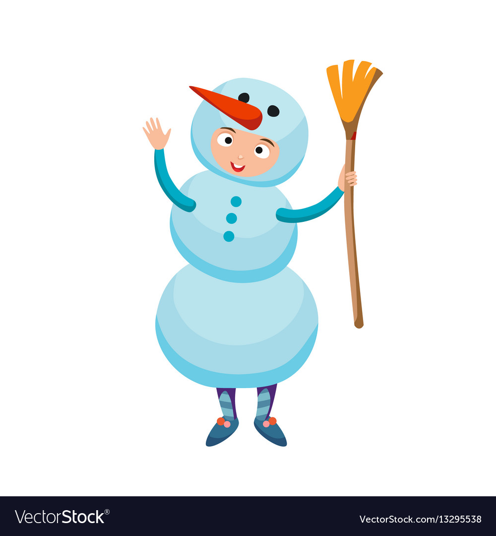 Cute kid wearing christmas snowman costume