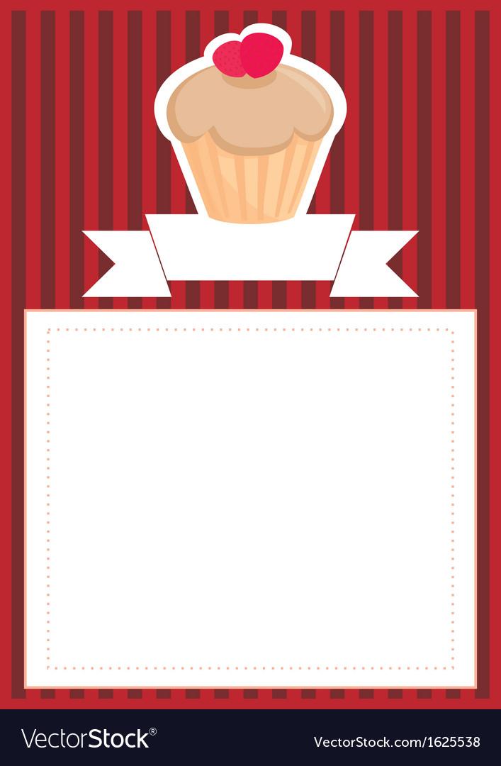 Dark card or invitation with sweet cupcake