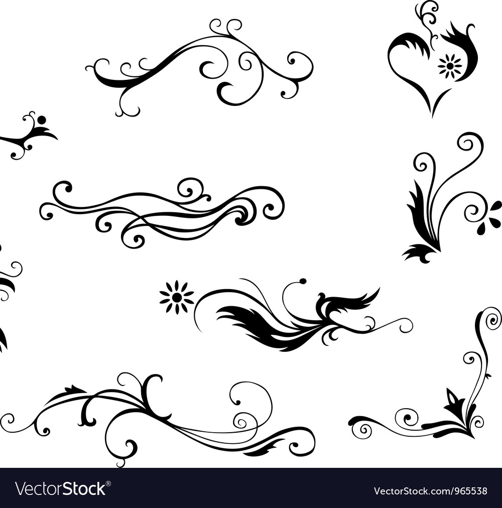 decorative floral elements royalty free vector image