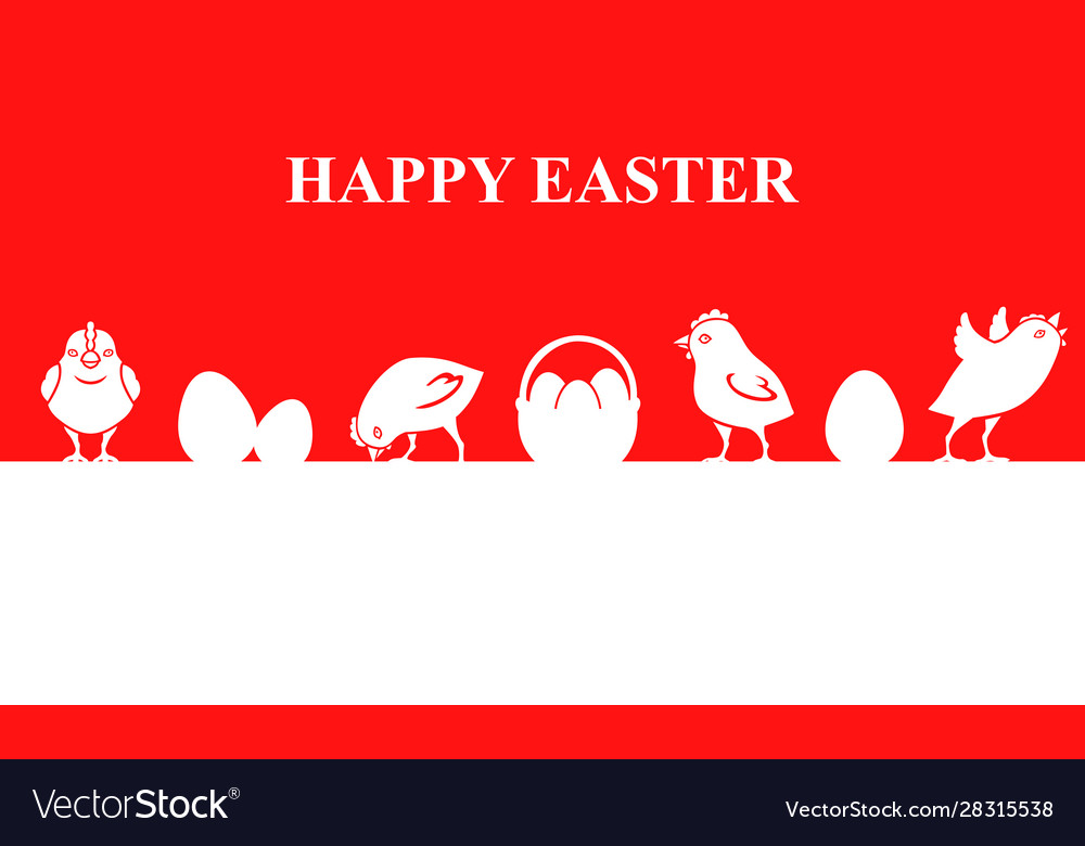 Easter banner with chickens and eggs