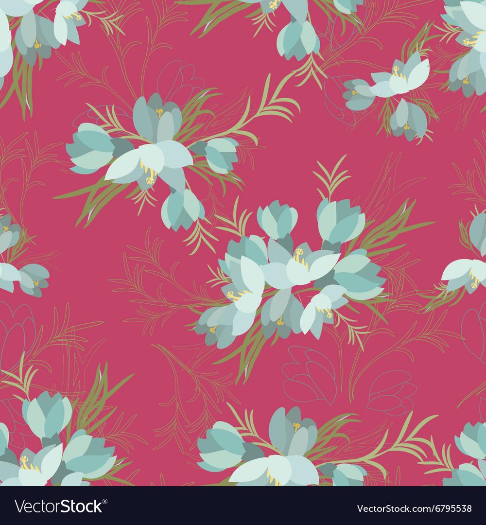 Floral crocus retro vintage background