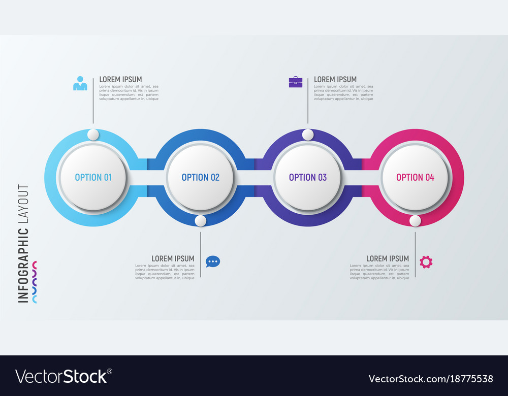 Four steps infographic process chart 4 options vector image