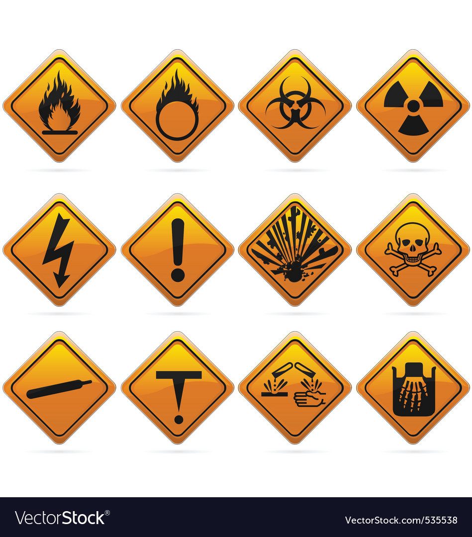 glossy diamond hazard signs royalty free vector image