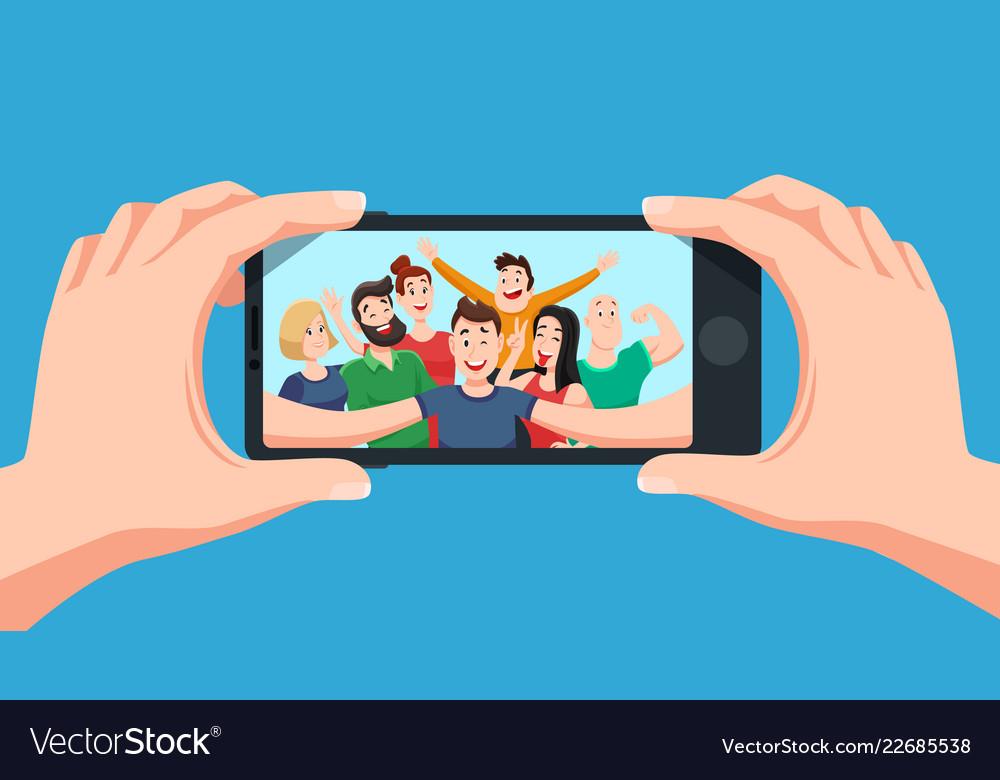 Group selfie on smartphone photo portrait of