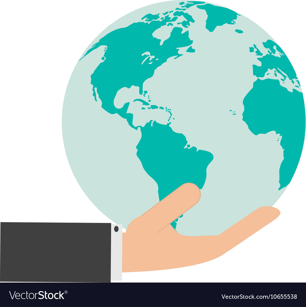 Hand holding earth globe and icon