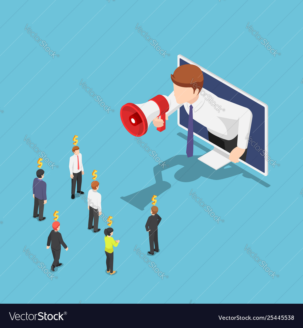 Isometric businessman come out from monitor and