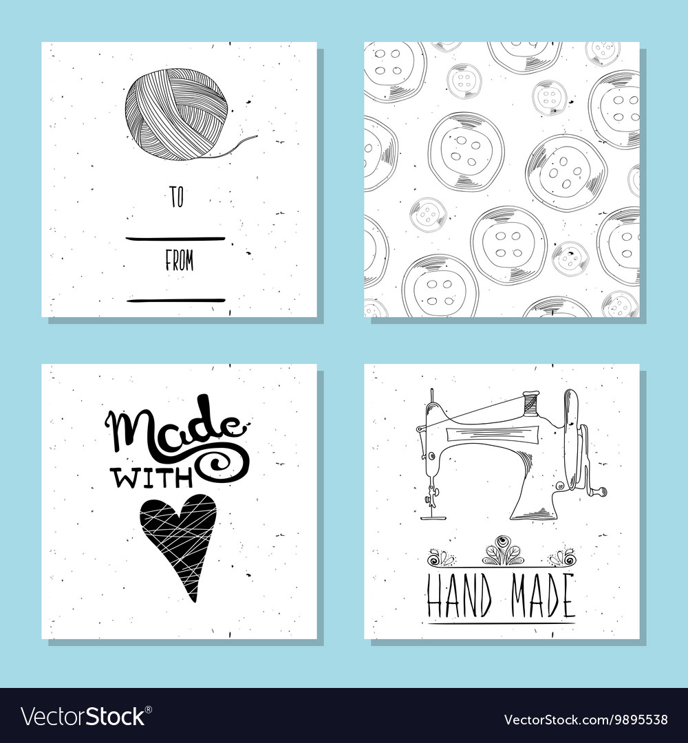Printable cute cards for sites in the retro style vector image