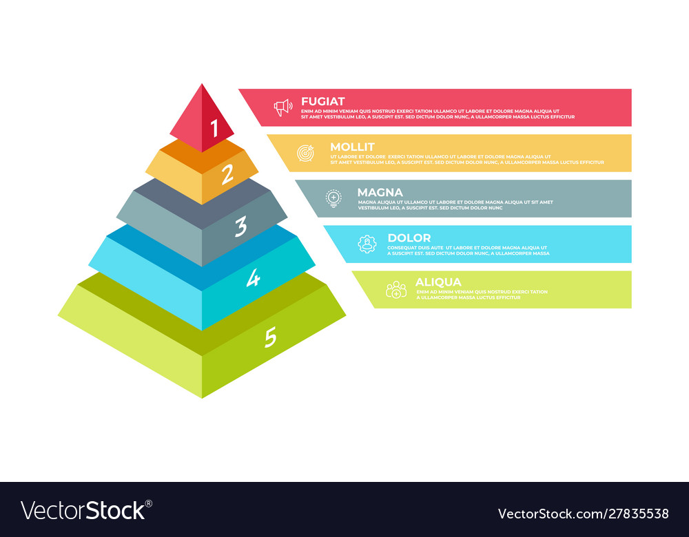 Step 3d infographic isometric pyramid business