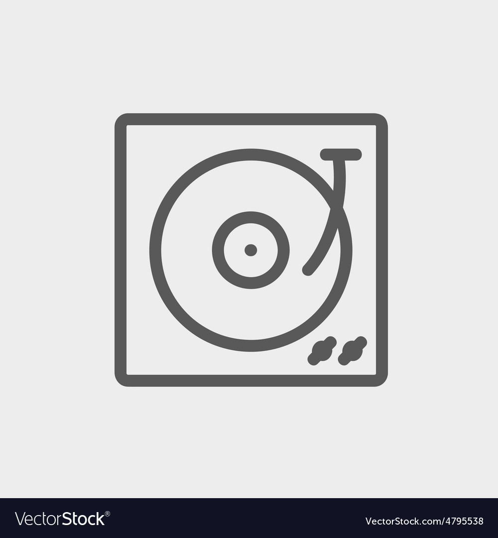 Turntable with vinyl disc thin line icon vector image