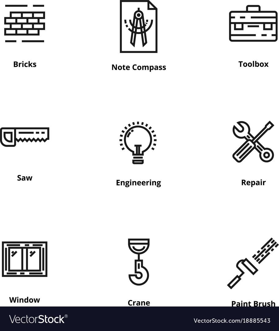 9 construction thin line icon