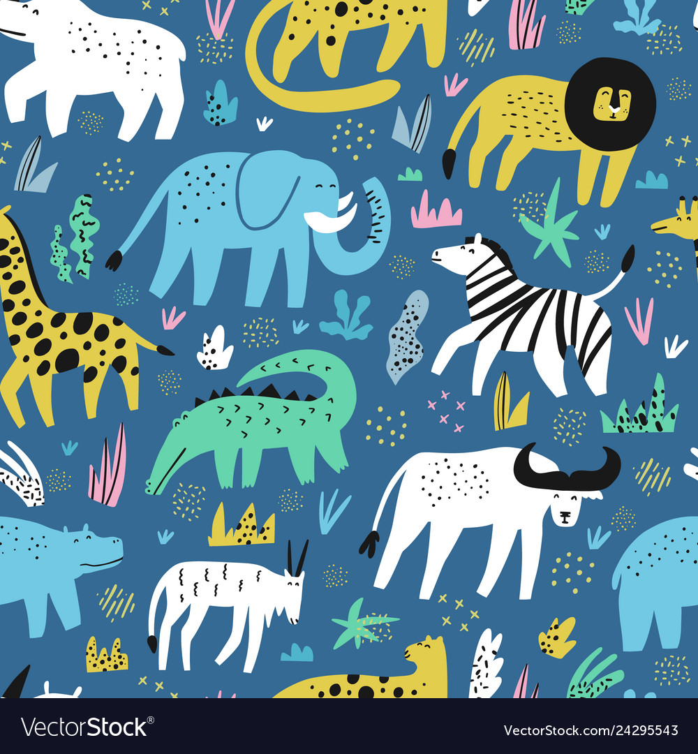 African animals flat hand drawn seamless pattern