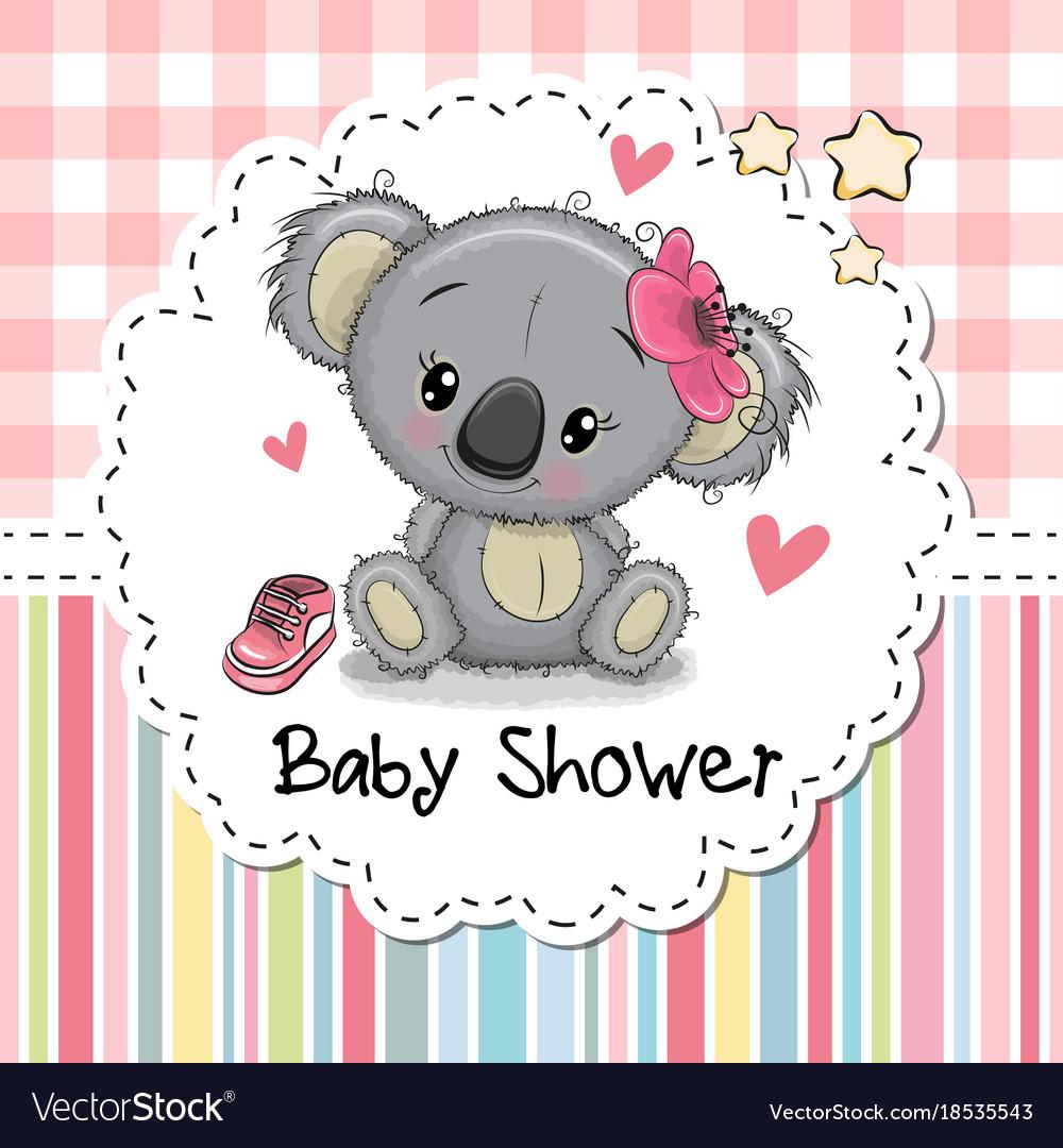 Baby shower greeting card with cartoon koala girl vector image m4hsunfo