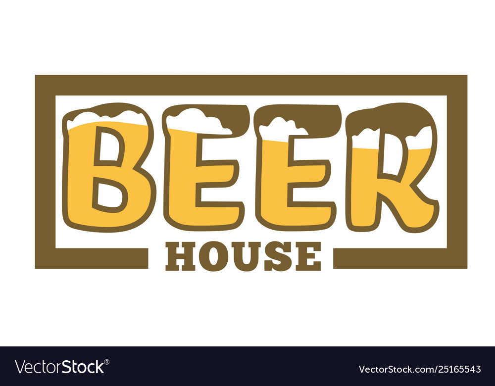 Beer house isolated icon with lettering craft