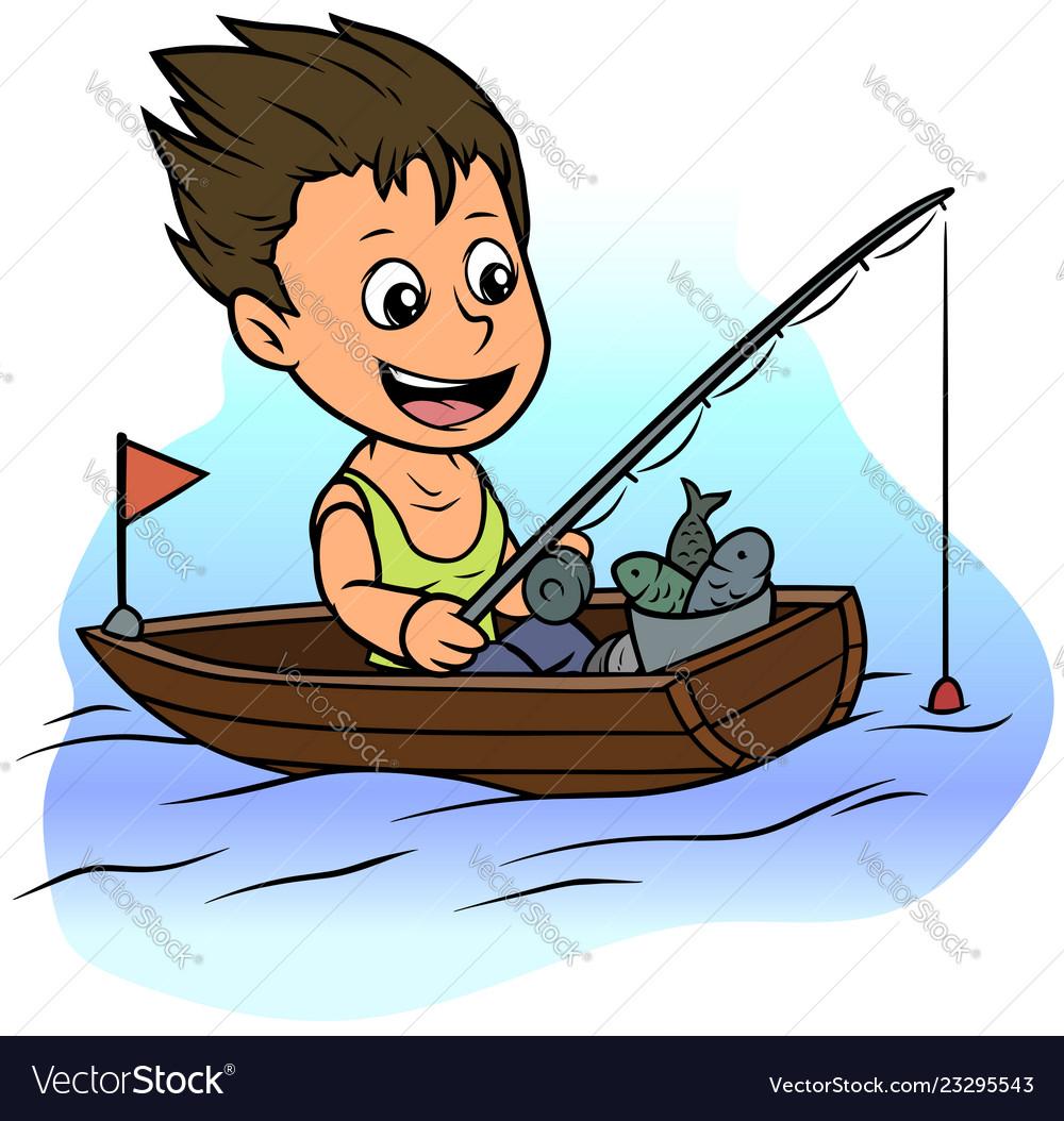 Cartoon boy character fishing in rowboat