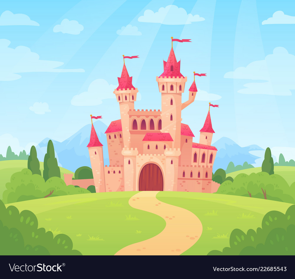 Fairytale landscape with castle fantasy palace